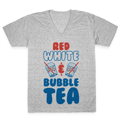 Red, White and Bubble Tea V-Neck Tee Shirt