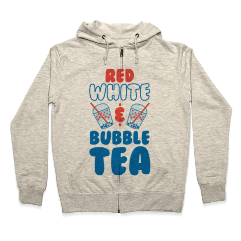 Red, White and Bubble Tea Zip Hoodie