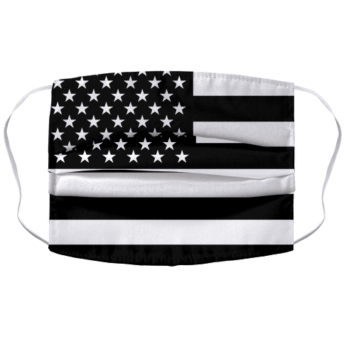 Black and White American Flag Accordion Face Mask