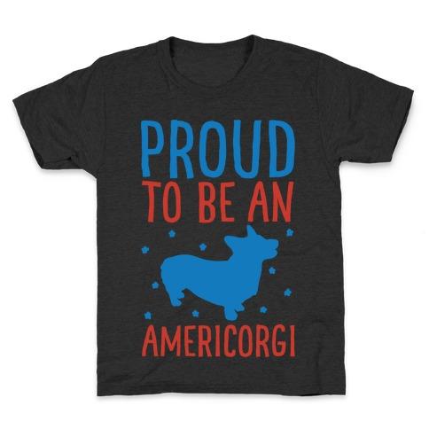 Proud To Be An Amercorgi White Print Kids T-Shirt