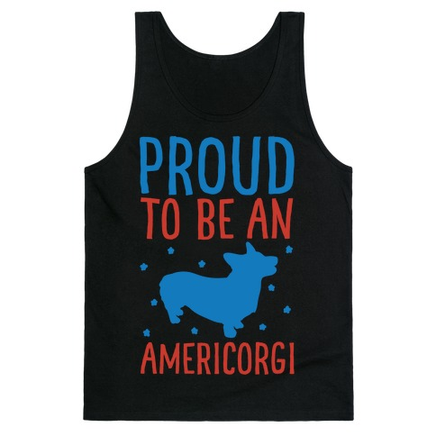 Proud To Be An Amercorgi White Print Tank Top
