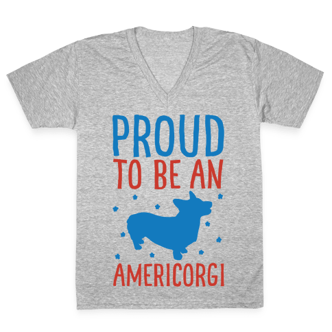 Proud To Be An Amercorgi White Print V-Neck Tee Shirt