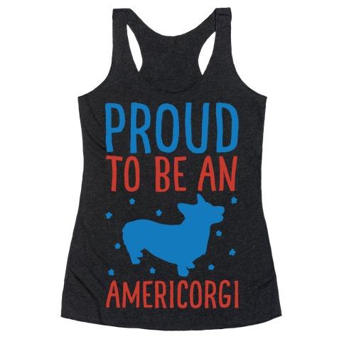 Proud To Be An Amercorgi White Print Racerback Tank Top