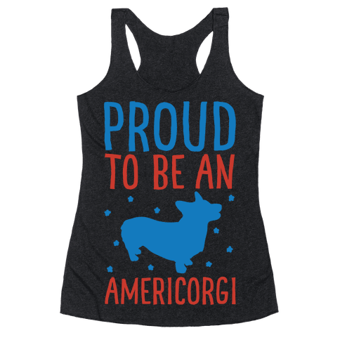 Proud To Be An Amercorgi White Print Racerback Tank Top