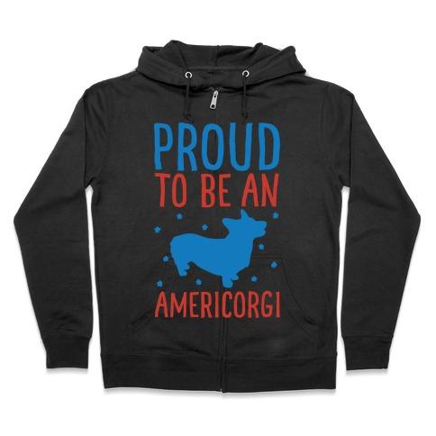 Proud To Be An Amercorgi White Print Zip Hoodie