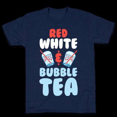 Red, White & Bubble Tea Mens/Unisex T-Shirt