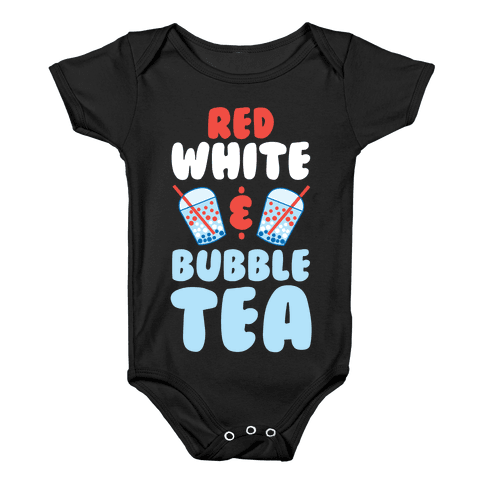 Red, White & Bubble Tea Baby Onesy