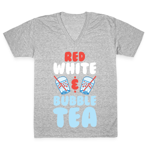 Red, White & Bubble Tea V-Neck Tee Shirt