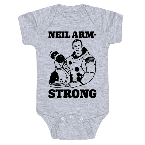 Neil Arm-Strong Lifting Baby Onesy