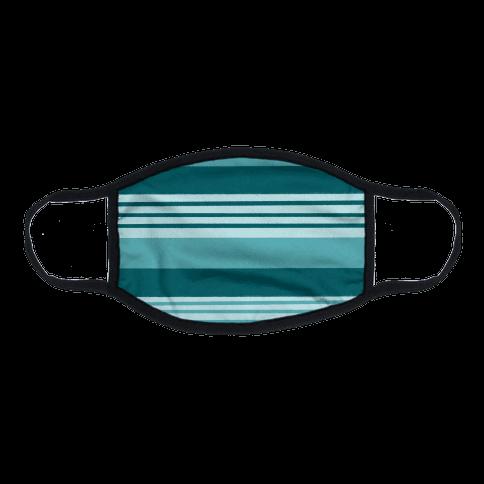 Turquoise Horizontal Stripes Flat Face Mask
