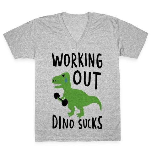 Working Out Dino Sucks Dinosaur V-Neck Tee Shirt