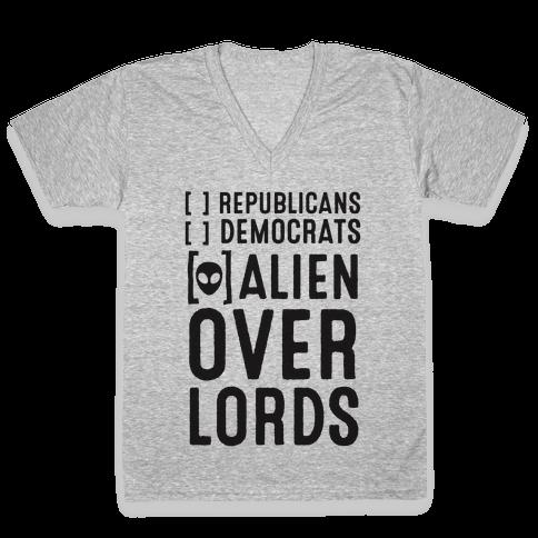 Vote Alien Overlords V-Neck Tee Shirt