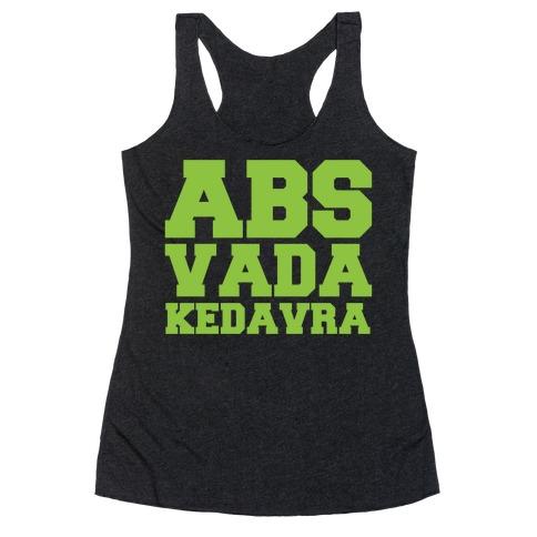 Abs Vada Kedavra Parody White Print Racerback Tank Top