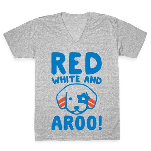 Red White and Aroo  V-Neck Tee Shirt
