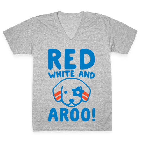 Red White and Aroo  V-Neck Tee Shirt