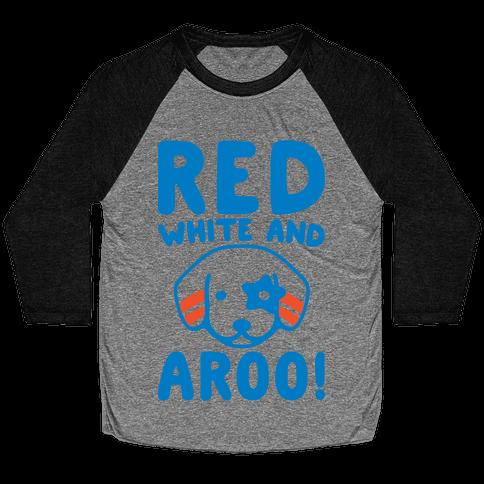 Red White and Aroo  Baseball Tee