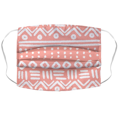 Abstract Geometric Coral Pink Boho Pattern Face Mask