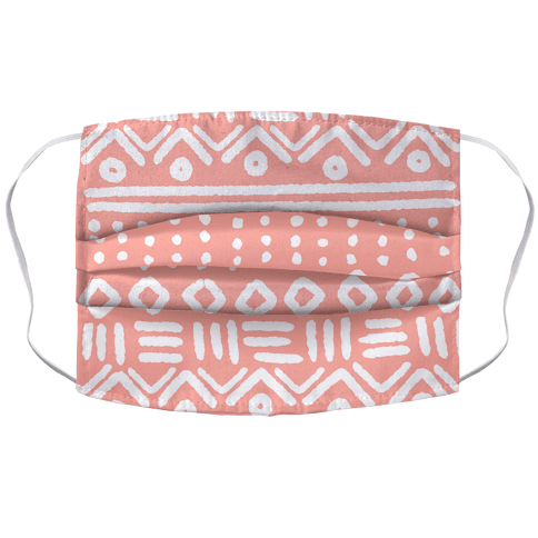 Abstract Geometric Coral Pink Boho Pattern Accordion Face Mask