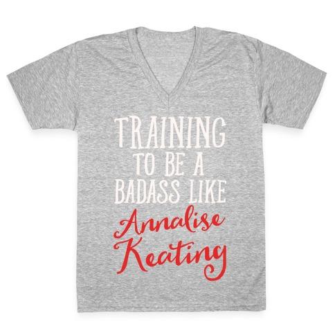 Training To Be A Badass Like Annalise Keating White Print V-Neck Tee Shirt