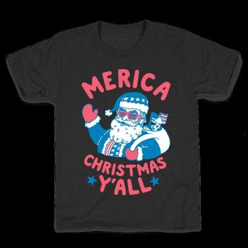 Merica Christmas Y'all Kids T-Shirt