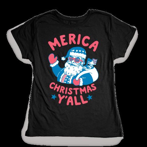 Merica Christmas Y'all Womens T-Shirt