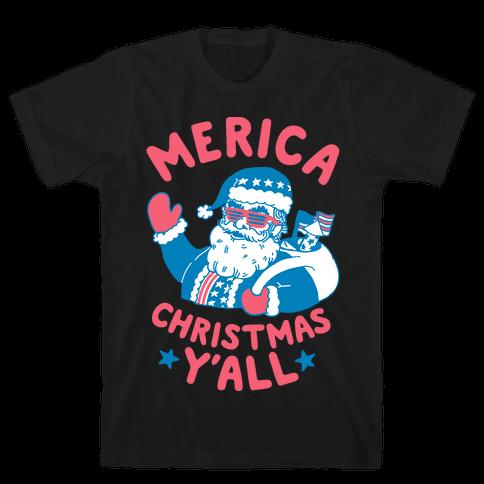 Merica Christmas Y'all Mens/Unisex T-Shirt