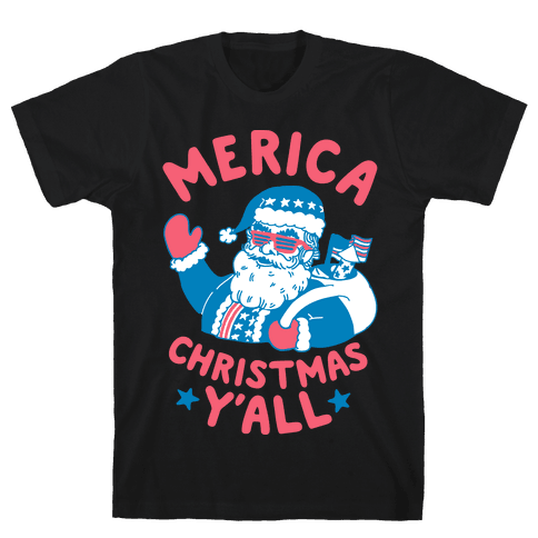 Merica Christmas Y'all Mens T-Shirt