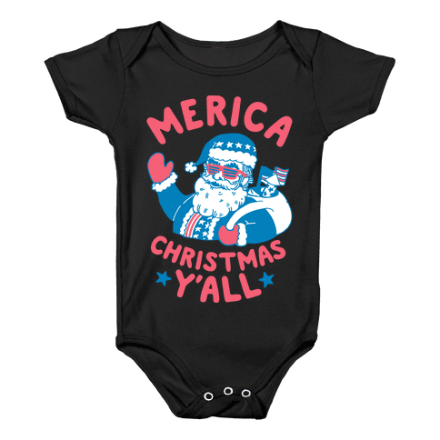 Merica Christmas Y'all Baby Onesy