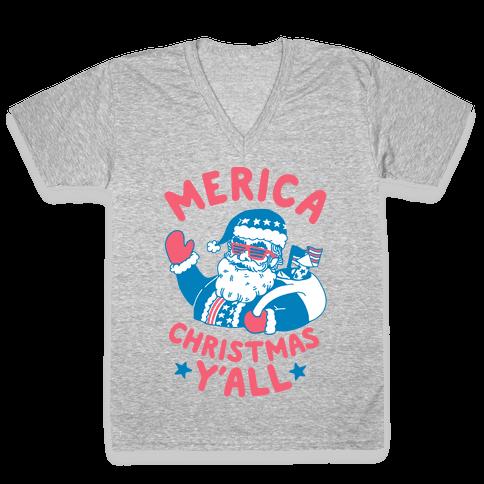 Merica Christmas Y'all V-Neck Tee Shirt