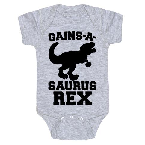 Gains-A-Saurus Rex Parody Baby Onesy