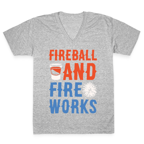 Fireball and Fire Works  V-Neck Tee Shirt