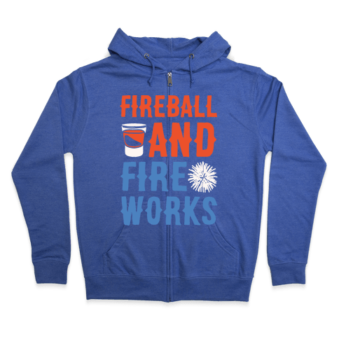 Fireball and Fire Works  Zip Hoodie