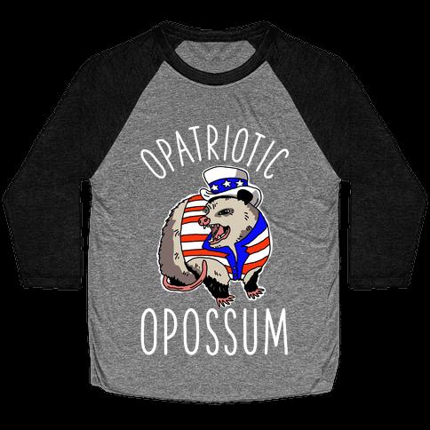 Opatriotic Opossum Baseball Tee