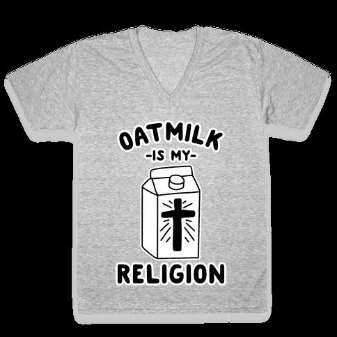 Oatmilk Is My Religion V-Neck Tee Shirt