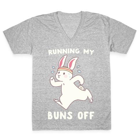 Running My Buns Off V-Neck Tee Shirt
