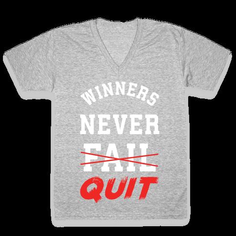 Winners Never Quit V-Neck Tee Shirt