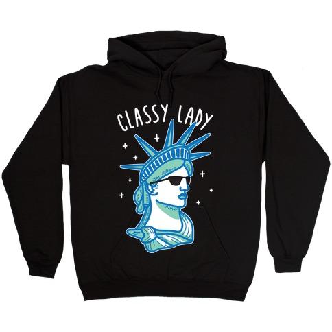 Classy Lady Liberty (White) Hooded Sweatshirt