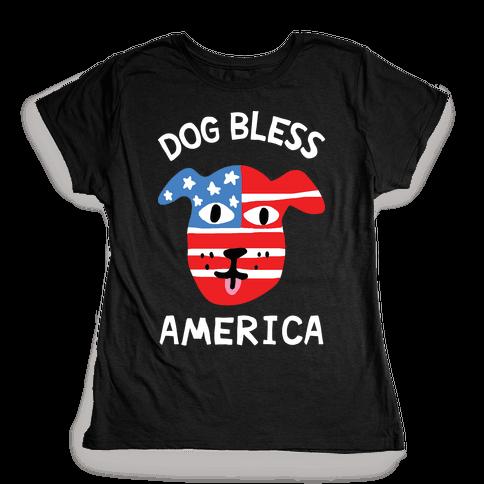 Dog Bless America Womens T-Shirt