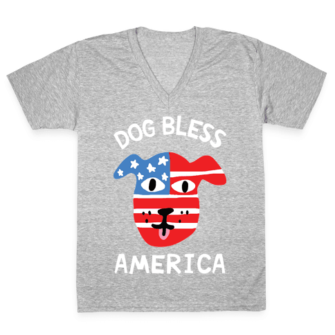 Dog Bless America V-Neck Tee Shirt