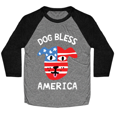 Dog Bless America Baseball Tee