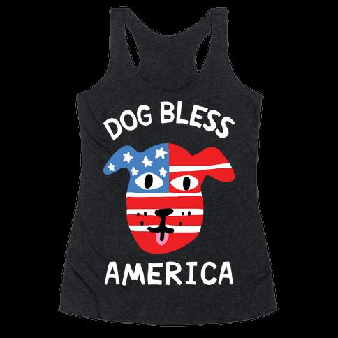 Dog Bless America Racerback Tank Top