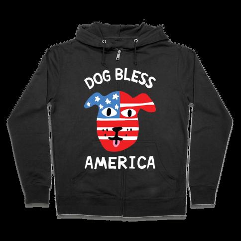 Dog Bless America Zip Hoodie
