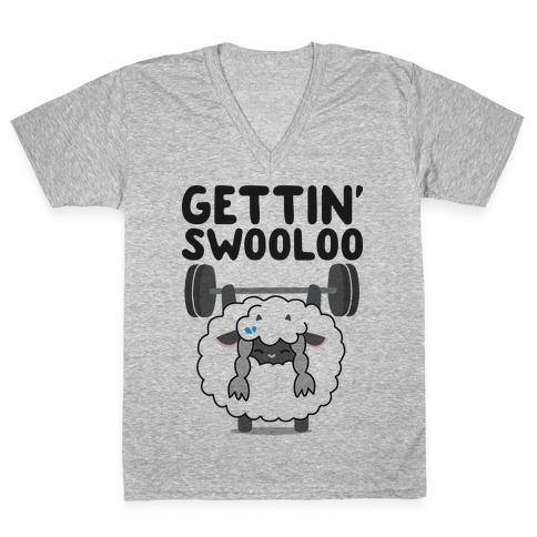 Gettin' Swooloo (Swole Wooloo) V-Neck Tee Shirt