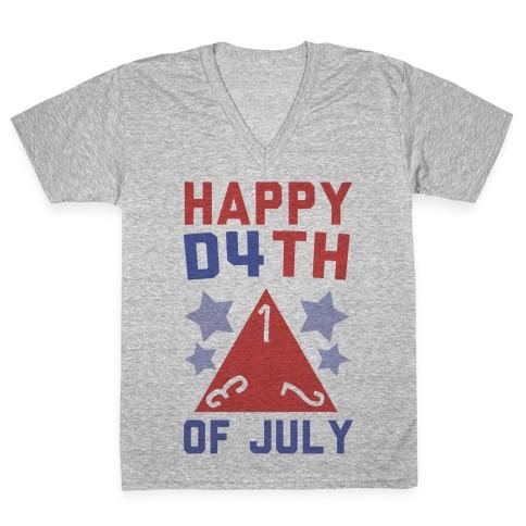 Happy D4th of July V-Neck Tee Shirt