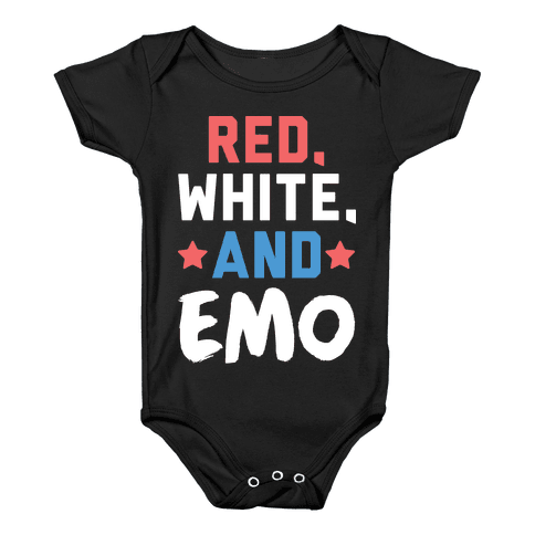 Red, White, And Emo Baby Onesy