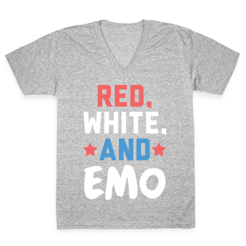 Red, White, And Emo V-Neck Tee Shirt