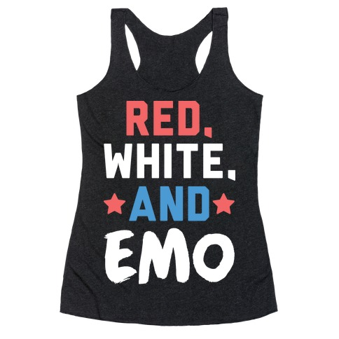 Red, White, And Emo Racerback Tank Top