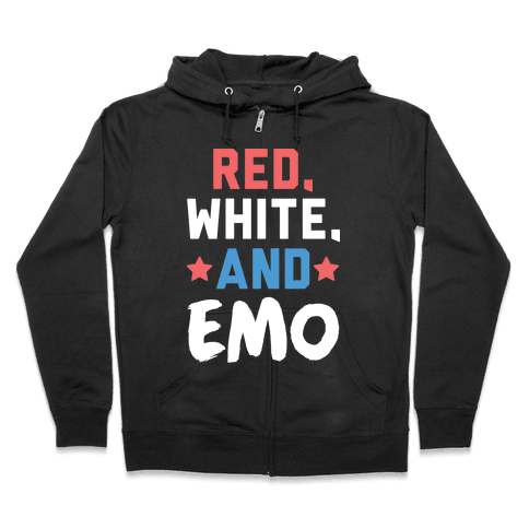 Red, White, And Emo Zip Hoodie