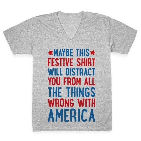 Festive American Distraction V-Neck Tee Shirt