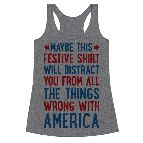 Festive American Distraction Racerback Tank Top